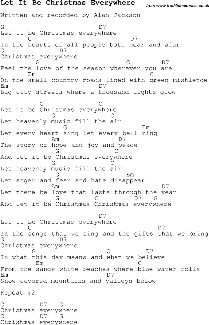 Let It Be Christmas Everywhere Guitar Chords Christmaswalls