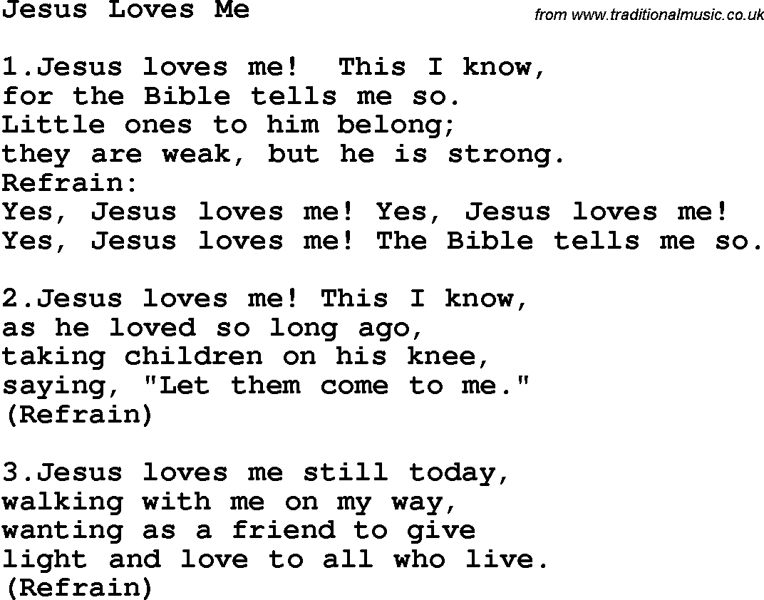 Yes Jesus Loves Me Lyric