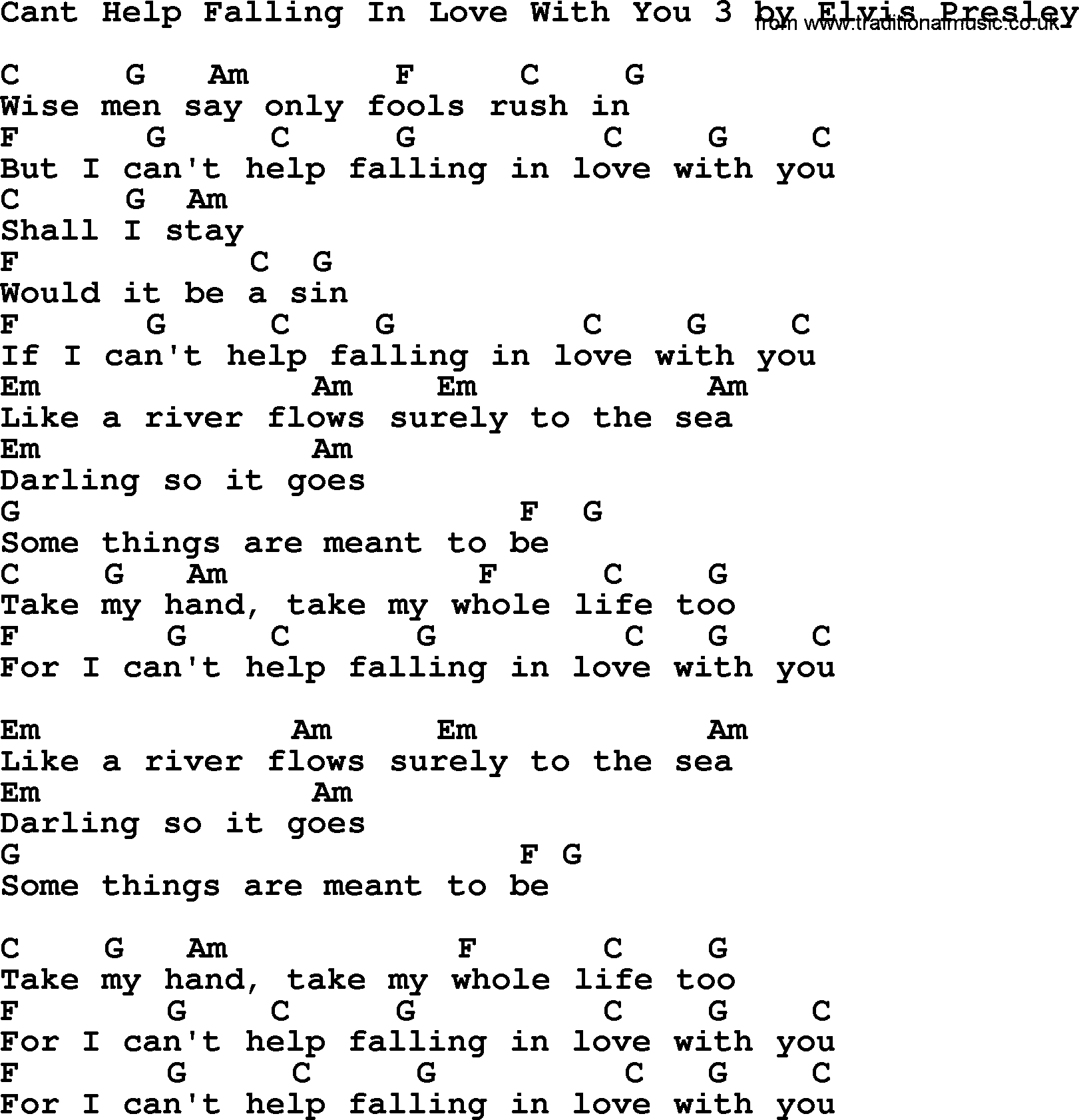 I cant help falling love you chords quotes of the day i cant help falling love you chords hexwebz Images