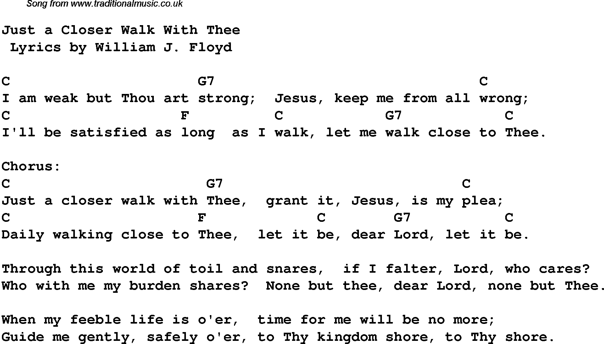Guitar Chords To Walk Closer With Thee