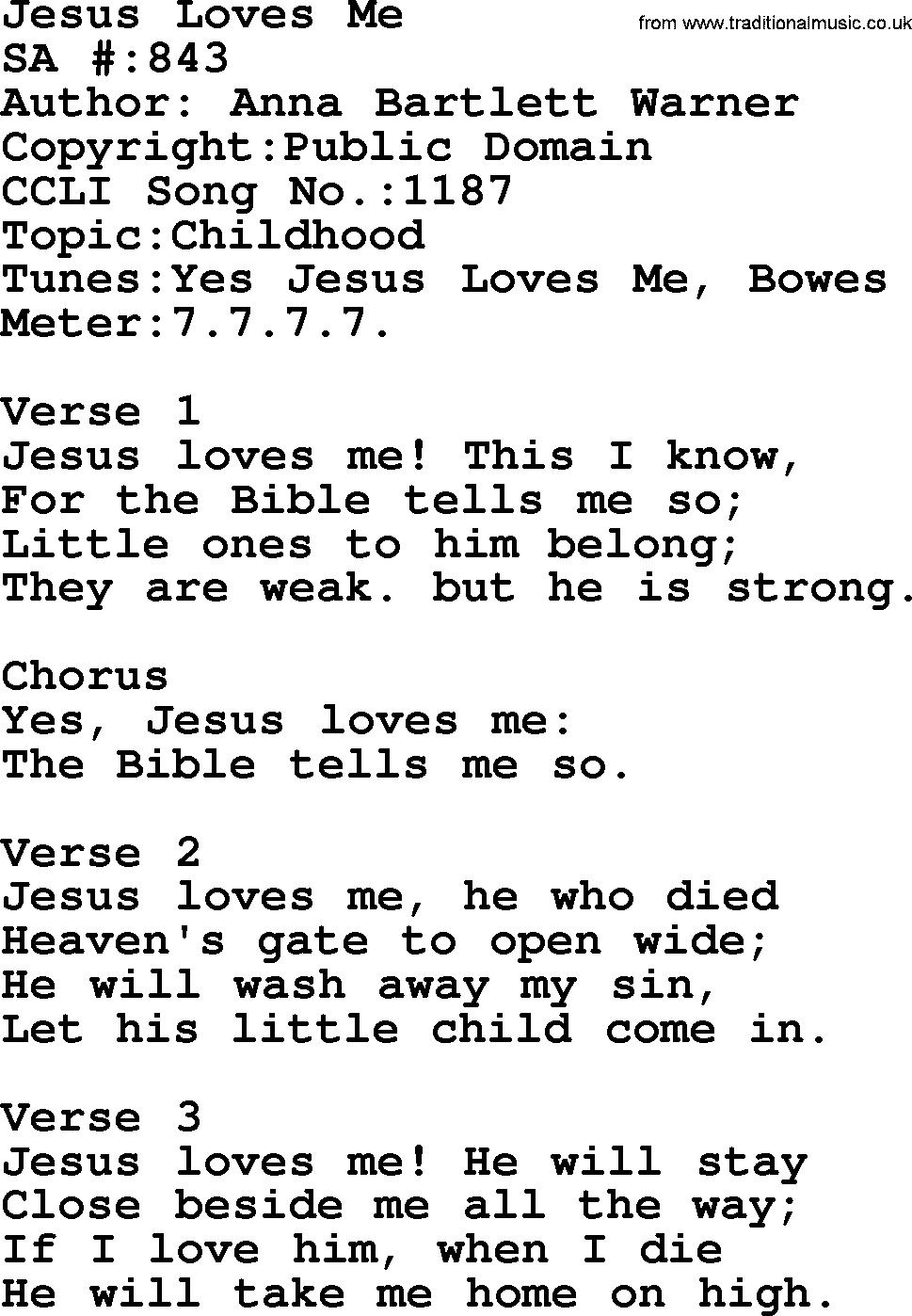 Yes Jesus Loves Me Chords