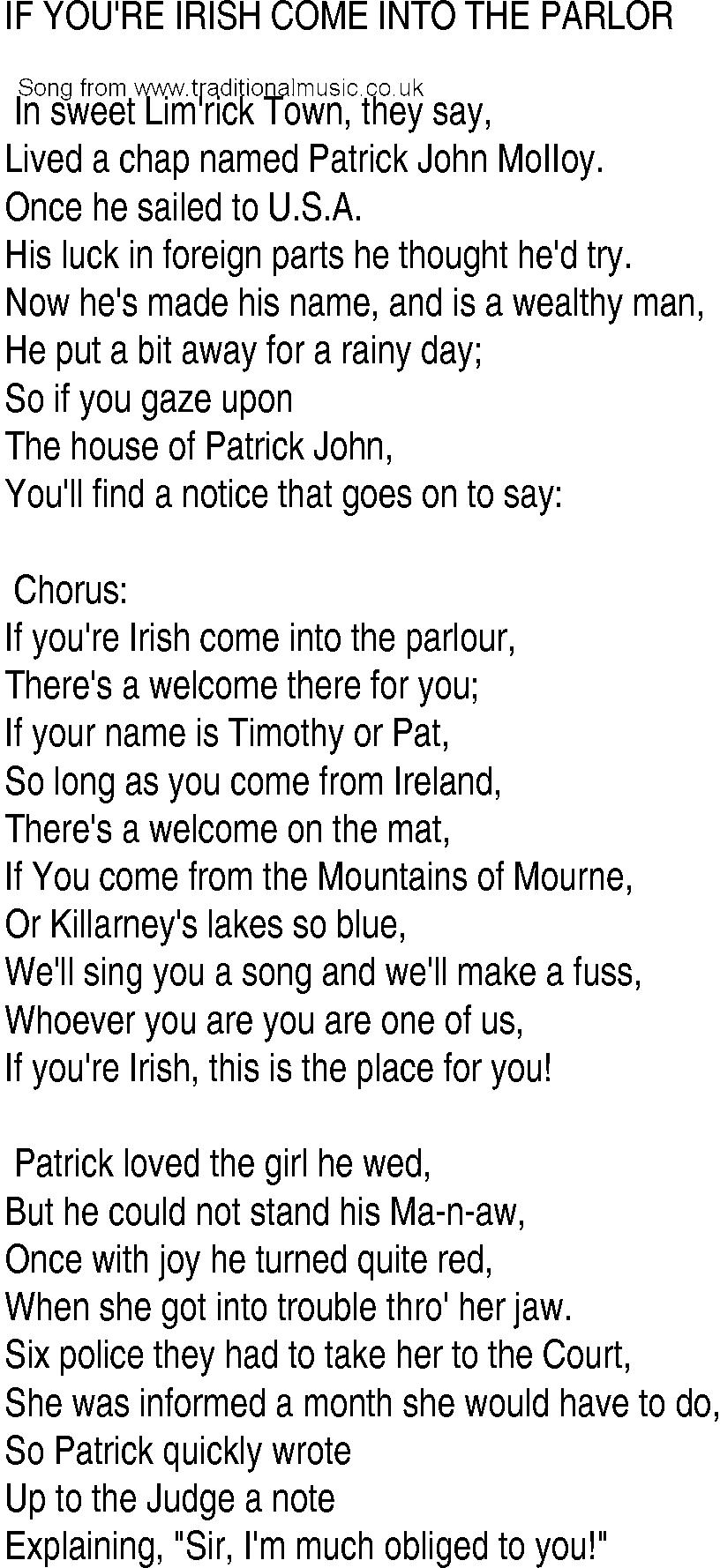 Irish Music Song And Ballad Lyrics For If You Are Irish
