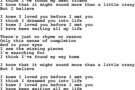 I Know I Love You Before I Met You Lyrics And Chords idea gallery