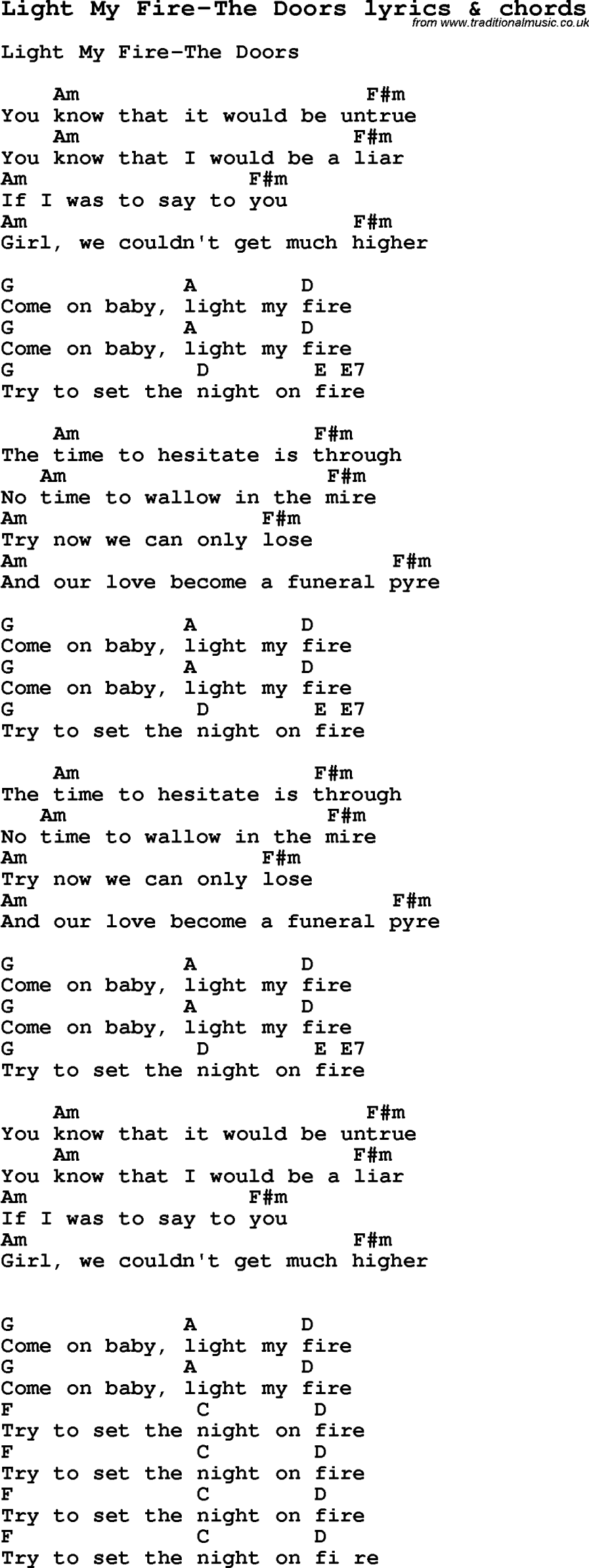Light My Fire Chords Thehomesite