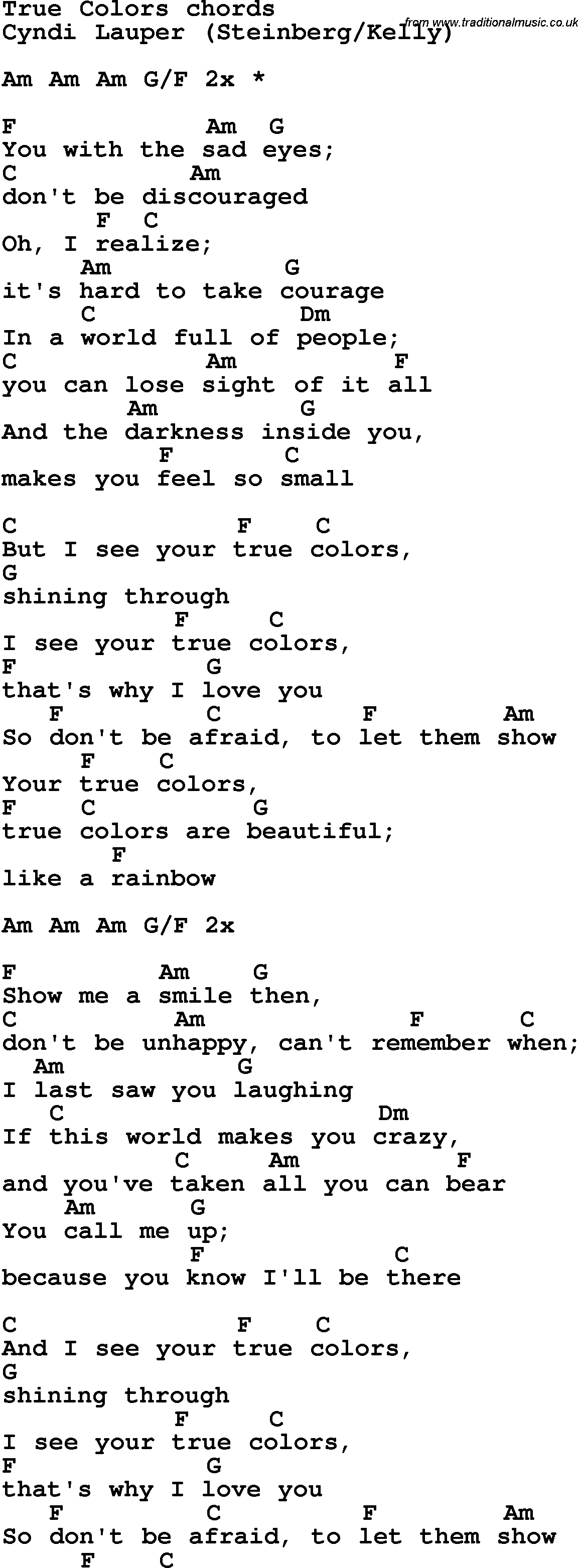 true colors 歌詞