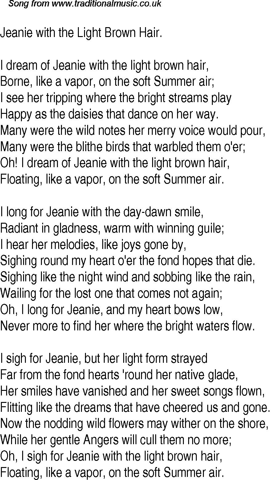 Jeanie Light Brown Hair Lyrics