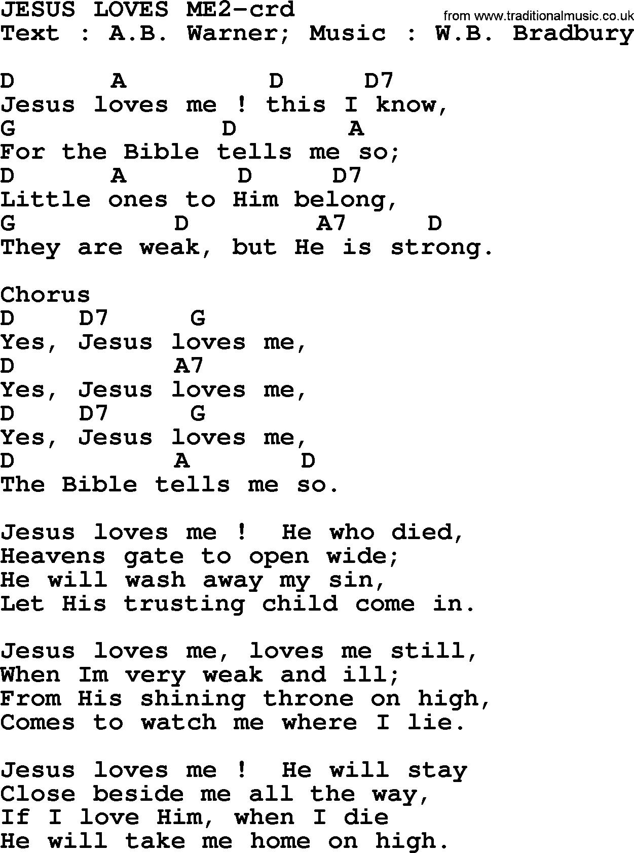 Yes Jesus Loves Me Lyrics Hymn