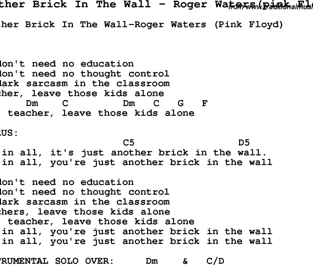 Song Another Brick In The Wall By Roger Waterspink Floyd With Lyrics