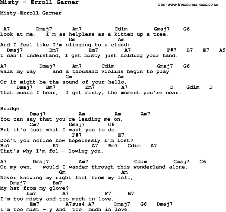 Song Misty by Erroll Garner, with lyrics for vocal performance and accompaniment chords for Ukulele, Guitar Banjo etc.
