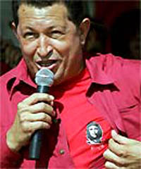 Chavez  with Che button