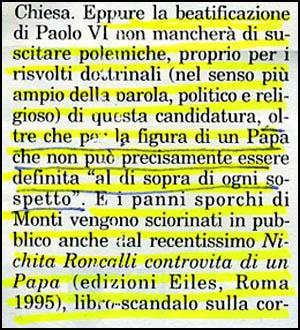 Revista L'Italia reportagem de Giulio Ferrari sobre Paulo VI
