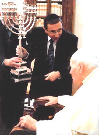 John Paul II receives menorah
