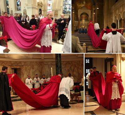 Obispo Schneider usando magna capa