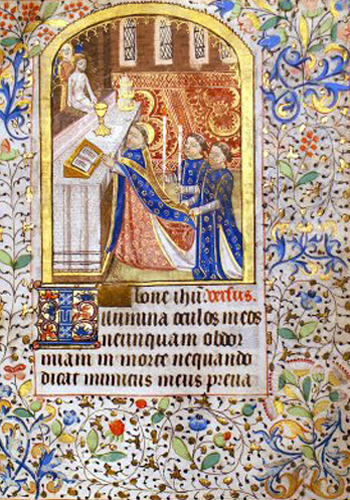 Medieval illuminated manuscript of Mass being said