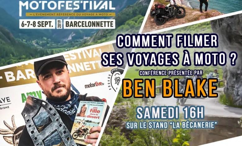 Photo of Ben Blake sur le stand de La Bécanerie à l'Alpes Aventure Motofestival