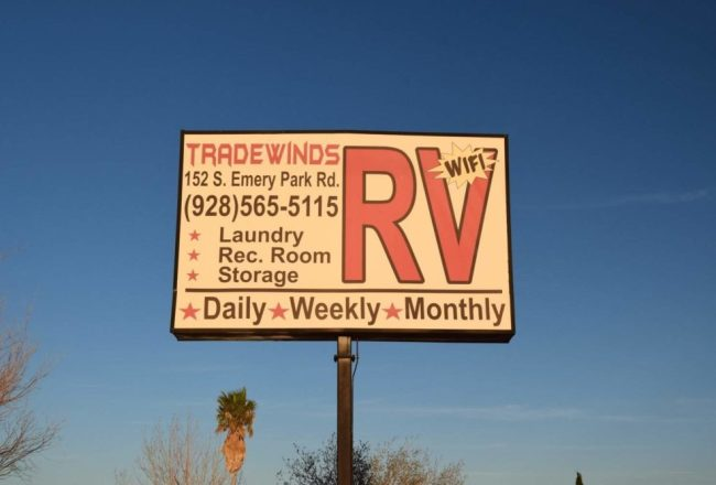 Sign for Tradewinds RV Park