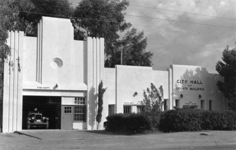 A historical photo of Casa Grande City hall, not burnt.