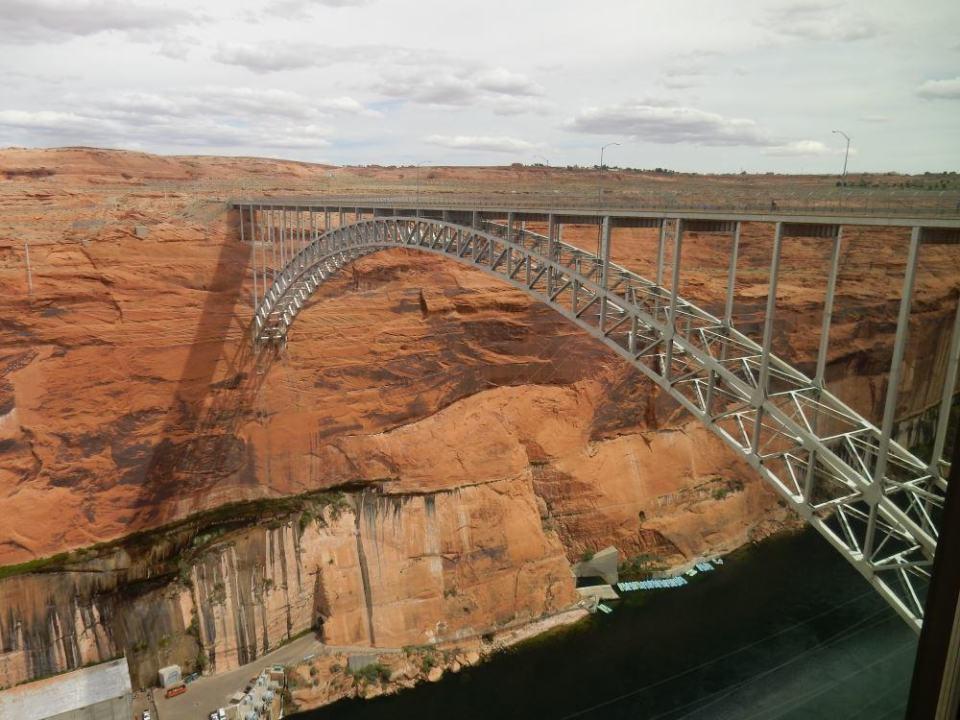 Pre-trip, viewing Glen Canyon Bridge. You can see the tour rafts below.