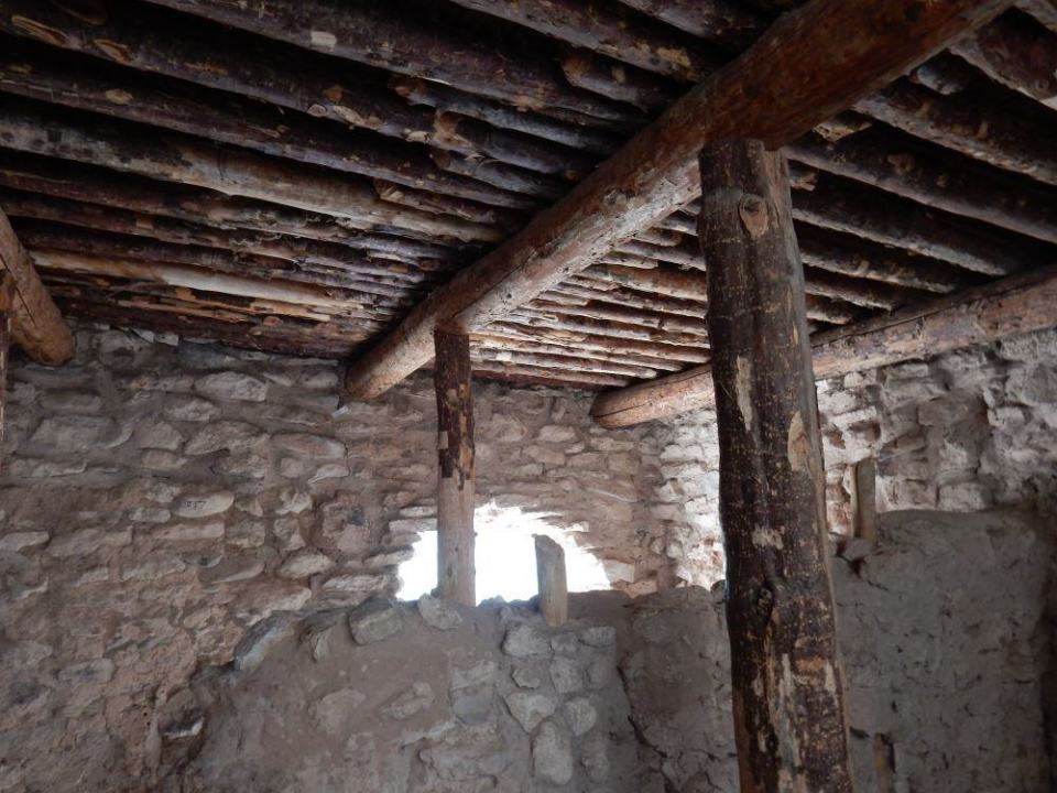 This is what the roofs looked like. Often they took the beams when they left as they were a rare commodity.