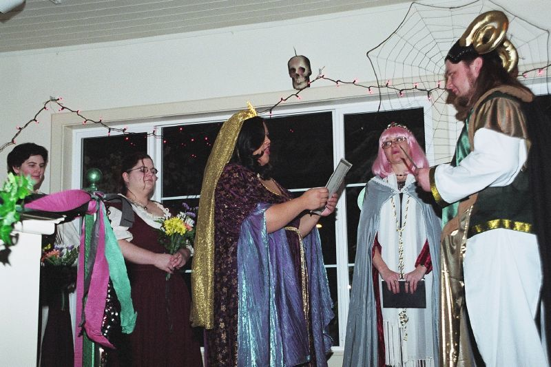 I'm going to illustrate this article with pictures of friends and family from our wedding. This is Trail and Hitch exchanging vows.