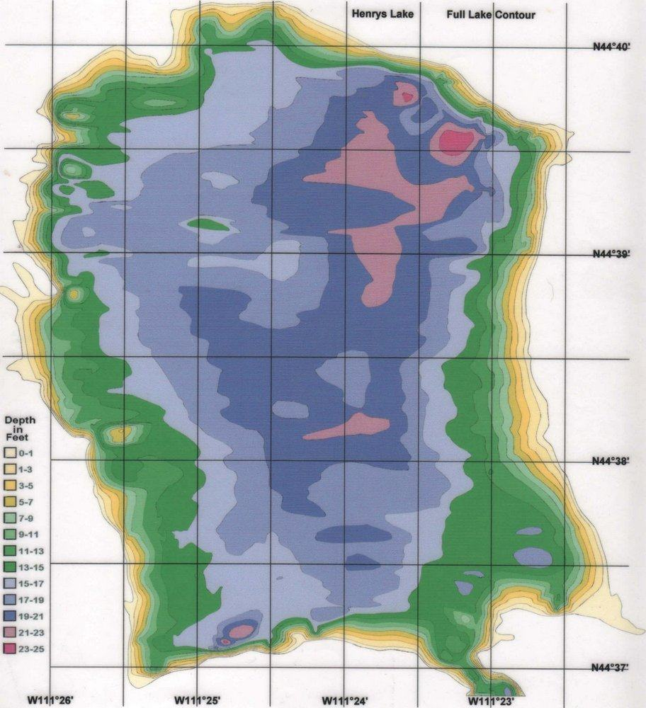 Here's a depth map of Henrys Lake