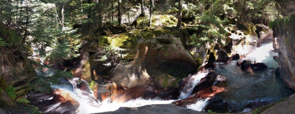 Avalanche Gorge - Sedimentary rock cut and shaped by rushing waters
