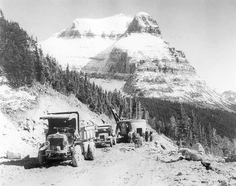 Road Construction of Going-To-The-Sun Road in the 1920s