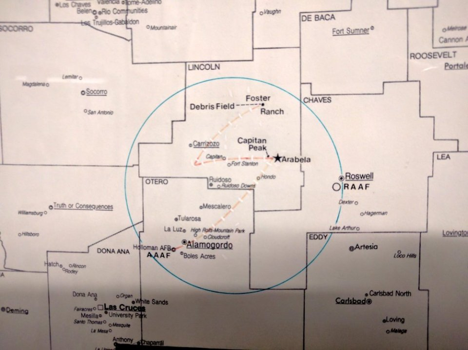 A map of the Roswell Crash Site