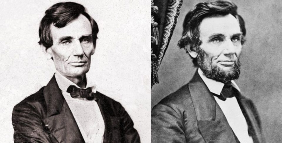 Abraham Lincoln Before and After the Beard