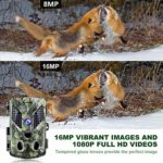 ABASK Trail Cameras 16MP 1080P Full HD Game Cameras with Night Vision Motion Activated, Hunting Camera 940nm 44 LEDs Wildlife Trail Surveillance Cam Bundle with 32G Card, Mounting Stand&Strap