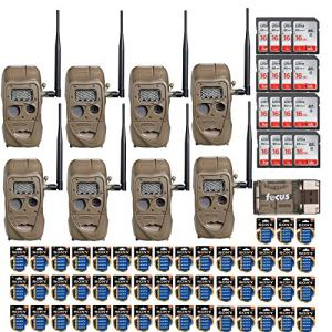 Cuddeback CuddeLink J Series Long Range IR 20MP Trail Camera (8-Pack) | with 16 SD Cards and 2 Full Sets of Batteries Bundle