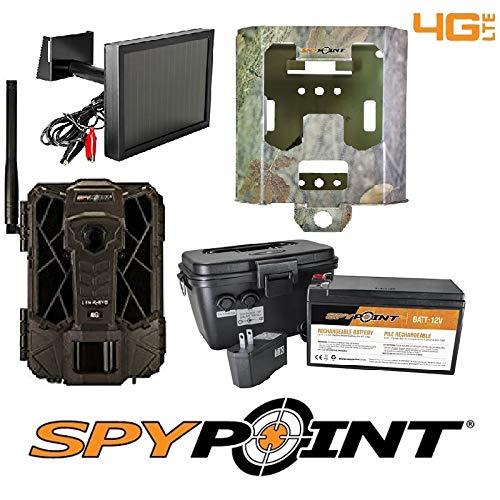 SPYPOINT Link-EVO-V Cellular MMS Trail Camera 4G/LTE USA with SB-200 Lock Box, KIT-12V & SP-12V w/Free 2 Year Camera Warranty Package (4G Camera, Lock Box, 12V Power Kit, Solar Panel)