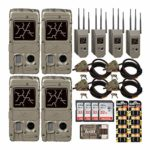 Cuddeback G-Series Powerhouse Black Flash 20MP Trail Cameras 4-Pack with Max Field Life Bundles: Includes Cams, Cases, Cable Locks, Batteries, Cards and Reader (25 Items)