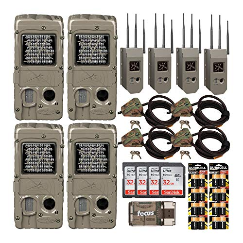 Cuddeback G-Series Powerhouse IR 20MP Trail Cameras 4-Pack with Max Field Life Bundles: Includes Cams, Cases, Cable Locks, Batteries, Cards and Reader (25 Items)