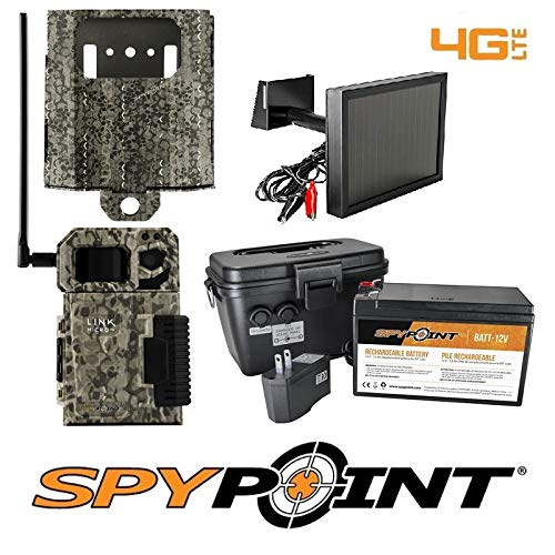 SPYPOINT Link-Micro-V Cellular MMS Trail Camera 4G/LTE USA with SB-300 Lock Box, KIT-12V & SP-12V w/Free 2 Year Camera Warranty Package (4G Camera, Lock Box, 12V Power Kit, Solar Panel)