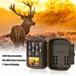 HOLLYWTOP Mini Trail Game Camera 20MP 1080P Waterproof 0.4s Trigger Speed Hunting Cams with Night Vision Motion Activated for Wildlife Monitoring and Home Security (2 Pack)