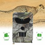 OOOUSE Trail Game Camera, 12MP 1080P HD Digital Waterproof Hunting Scouting Cam 120 Degree Wide Angle Lens with 0.8s Trigger Speed Motion Activated Night Vision for Wildlife Monitoring, Home Security