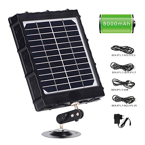 WILDGAMEPLUS Rechargeable Solar Panel,14W 8000mAh 12V/1.2A 9V/1.6A 6V/2.4A IP66 Waterproof Charger with Cables for All 3G/4G Trail Hunting Game Camera and 12V LED Light WG-8000