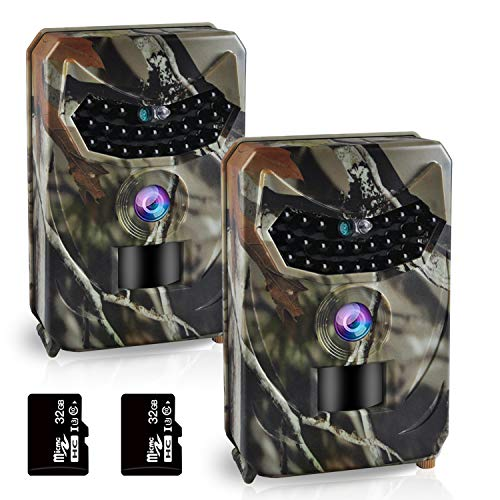 OHMU Trail Game Camera, 1080P Waterproof Hunting Scouting Cam for Wildlife Monitoring with Night Vision (2 Packs)