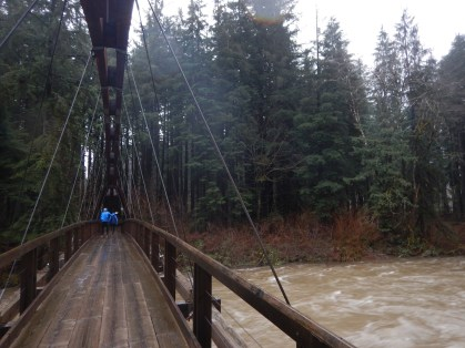 Exploring an amazing bridge across the Snoqualmie River near the Middle Fork Trailhead