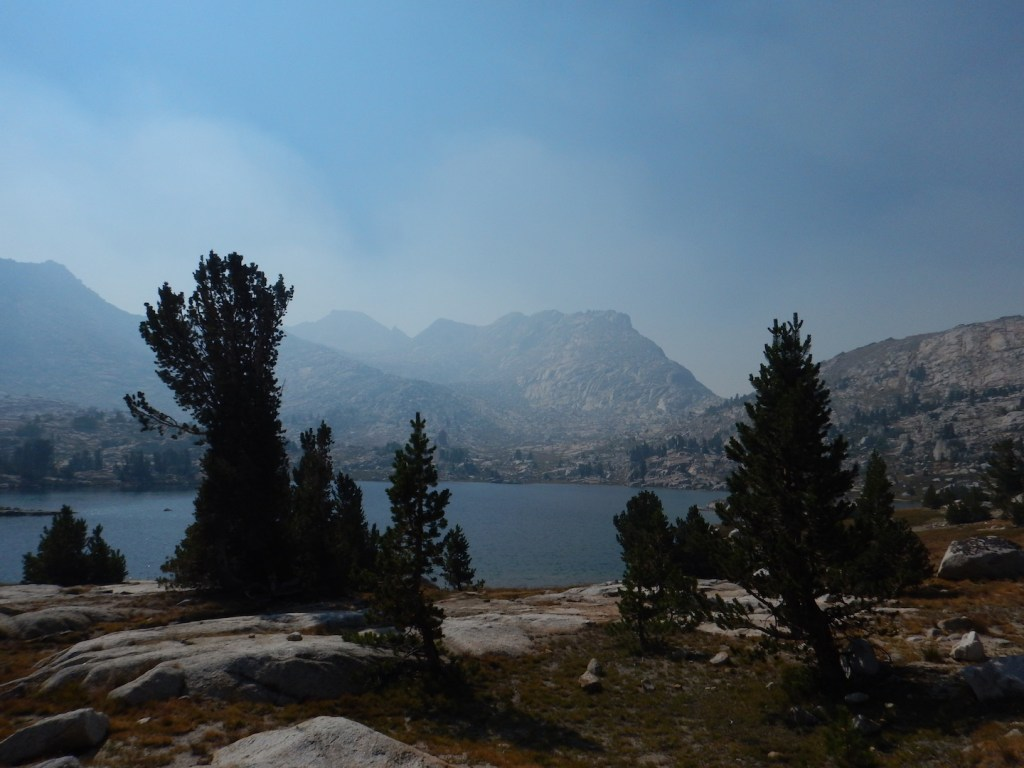 Smoke starting to filter over Selden Pass and fill up the Marie Lake basin