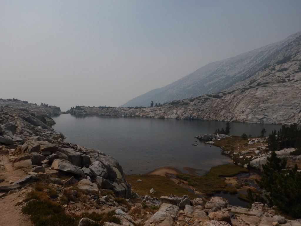 Passing Heart Lake below Selden Pass. We kept hiking deeper and deeper into the smoke.