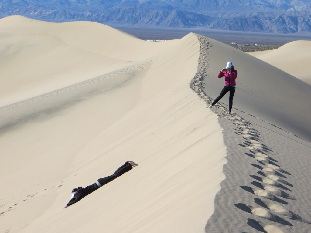 We spent our post-race recovery day being crazy at the Mesquite Sand Dunes. After sliding and running around on them for a few hours my legs were really stiff, yikes! But so fun!