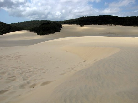 Hiking in over the sandblow to Lake Wabby