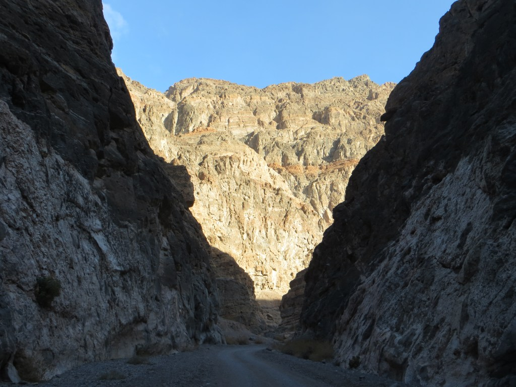 My dad took a picture as he hiked through the opening of Titus Canyon on the race course. Amazing!