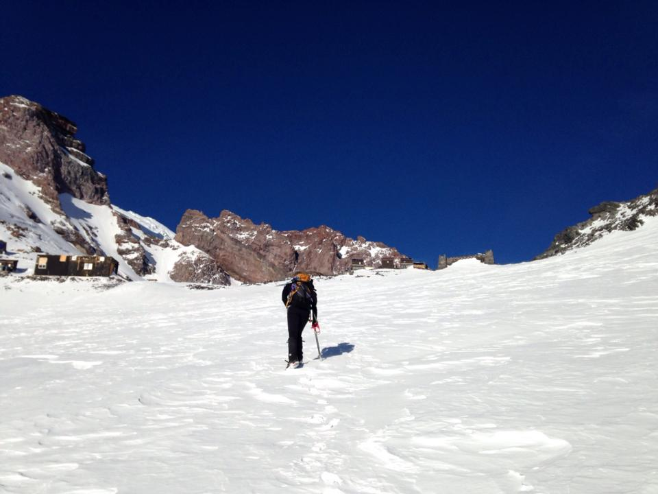 Catching a glimpse of Camp Muir over the ridgeline. Still a ways to go!