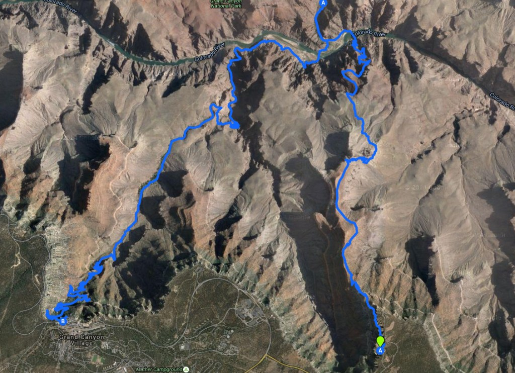 Our 17 mile loop hike from the Rim to the River and back, starting at the South Kaibab trailhead and finishing at the Bright Angel trailhead.