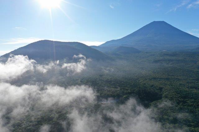 富士山, Mt. Fuji, ドローン, Drone, 本栖湖, 精進湖, ハートランド朝霧,