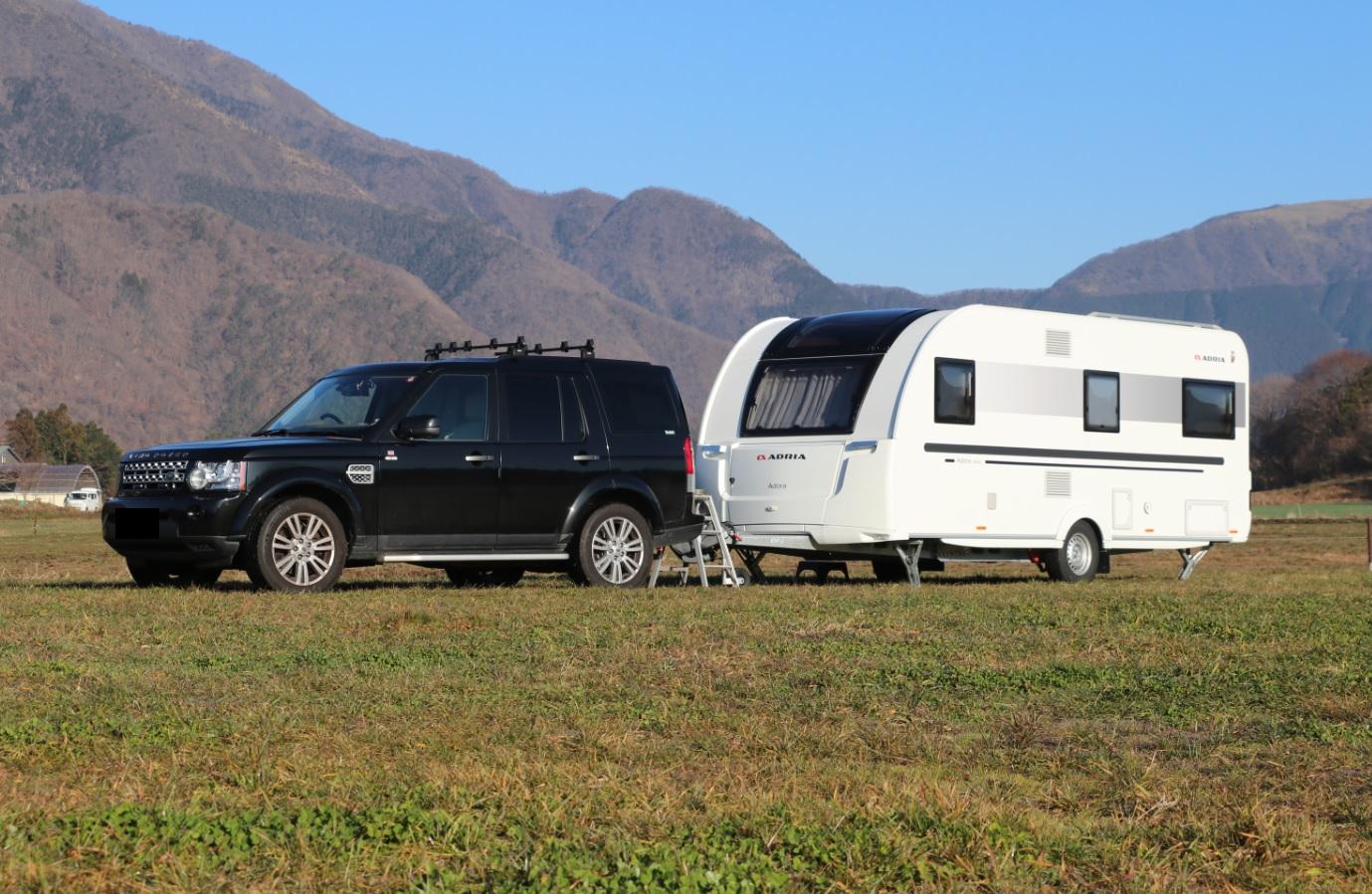 表紙画像, トップ画像, Land Rover, Discovery-4, LR4, Caravan, Adria Adora, キャンピングトレーラー, キャラバン, アドリア アドーラ, ランドローバー, ディスカバリー4,