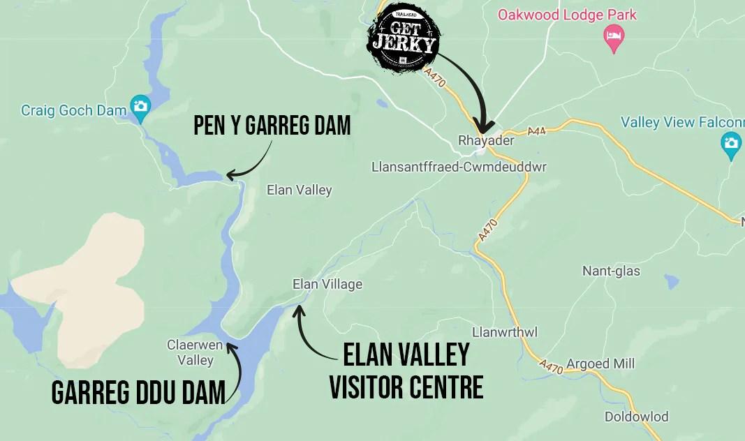 Elan Valley Trail cycling & hiking map